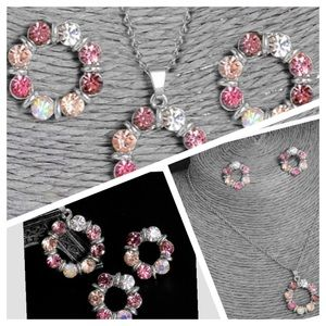 Jewelry - Silver pink CZ and coral necklace earrings set